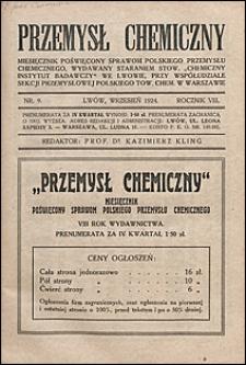 Przemysł Chemiczny 1924 nr 9