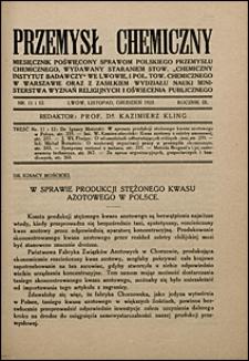 Przemysł Chemiczny 1925 nr 11-12