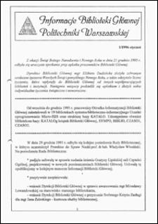 Informacje Biblioteki Głównej Politechniki Warszawskiej 1996 nr 1