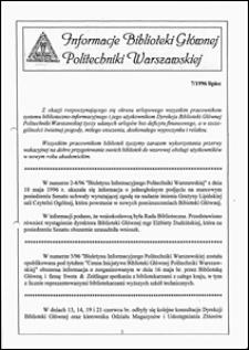 Informacje Biblioteki Głównej Politechniki Warszawskiej 1996 nr 7