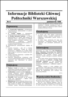 Informacje Biblioteki Głównej Politechniki Warszawskiej 1998 nr 4