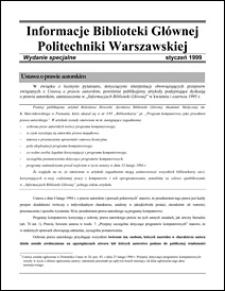 Informacje Biblioteki Głównej Politechniki Warszawskiej 1999 styczeń wydanie specjalne
