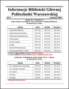 Informacje Biblioteki Głównej Politechniki Warszawskiej 2001 nr 3