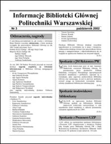 Informacje Biblioteki Głównej Politechniki Warszawskiej 2002 nr 3