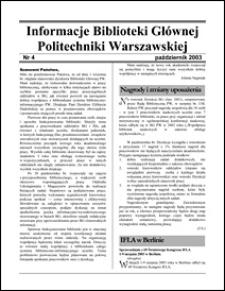 Informacje Biblioteki Głównej Politechniki Warszawskiej 2003 nr 4