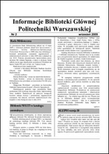Informacje Biblioteki Głównej Politechniki Warszawskiej 2009 nr 2