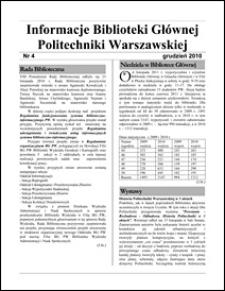 Informacje Biblioteki Głównej Politechniki Warszawskiej 2010 nr 4
