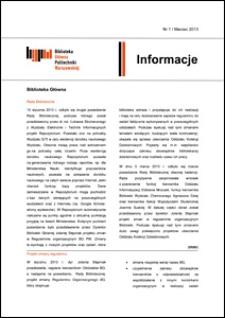 Informacje Biblioteki Głównej Politechniki Warszawskiej 2013 nr 1