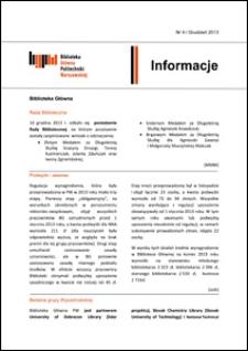 Informacje Biblioteki Głównej Politechniki Warszawskiej 2013 nr 4