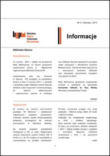 Informacje Biblioteki Głównej Politechniki Warszawskiej 2015 nr 2