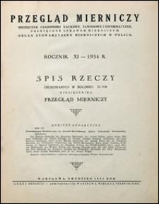 Przegląd Mierniczy 1934 spis rzeczy