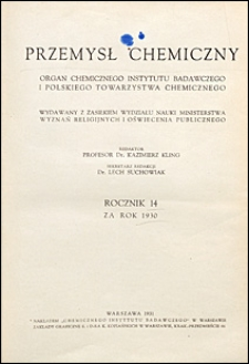 Przemysł Chemiczny 1930 spis rzeczy