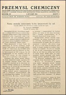 Przemysł Chemiczny 1931 nr 1
