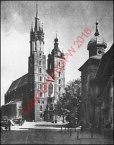 Kościół parafialny NMP (Mariacki). Widok ogólny od strony fasady głównej z przed 1944 roku. Kraków