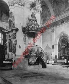 Kościół pw. NMP i św. Mikołaja. Wnętrze. Widok z przed 1939 roku. Ląd