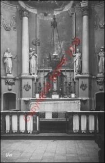 Kościół parafialny św. Anny. Wnętrze. Widok na prezbiterium z przed 1939 roku. Sterdyń