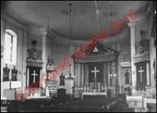 Kościół pw. Trójcy Świętej. Wnętrze. Widok w kierunku prezbiterium z 1914 roku. Sosnowica