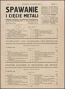Spawanie i Cięcie Metali 1928 nr 1