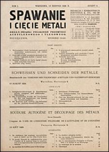 Spawanie i Cięcie Metali 1928 nr 8