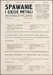 Spawanie i Cięcie Metali 1928 nr 10