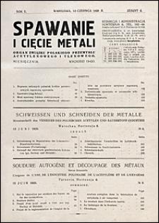 Spawanie i Cięcie Metali 1929 nr 6