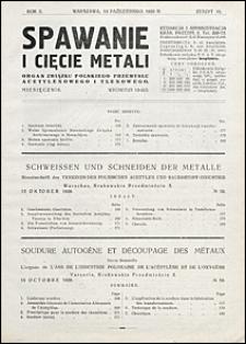 Spawanie i Cięcie Metali 1929 nr 10
