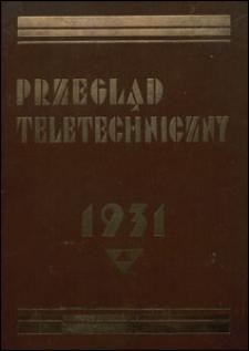 Przegląd Teletechniczny 1931 spis rzeczy