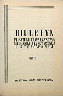 Biuletyn Polskiego Towarzystwa Mechaniki Teoretycznej i Stosowanej 1960 nr 3