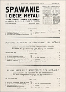 Spawanie i Cięcie Metali 1931 nr 10