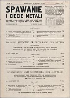 Spawanie i Cięcie Metali 1931 nr 12