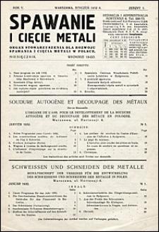 Spawanie i Cięcie Metali 1932 nr 1