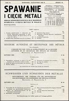Spawanie i Cięcie Metali 1933 nr 10