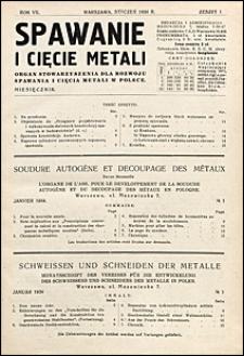 Spawanie i Cięcie Metali 1934 nr 1