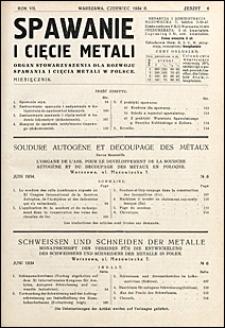 Spawanie i Cięcie Metali 1934 nr 6