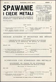 Spawanie i Cięcie Metali 1934 nr 7