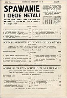 Spawanie i Cięcie Metali 1934 nr 9