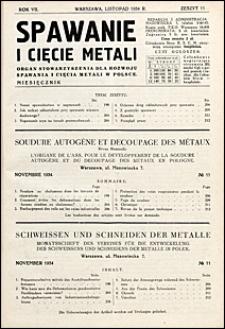 Spawanie i Cięcie Metali 1934 nr 11