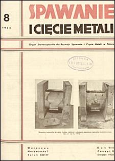 Spawanie i Cięcie Metali 1935 nr 8