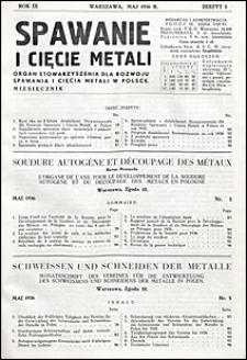 Spawanie i Cięcie Metali 1936 nr 5