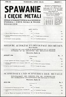 Spawanie i Cięcie Metali 1936 nr 7