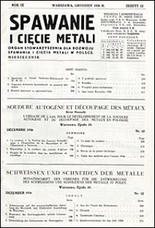 Spawanie i Cięcie Metali 1936 nr 12