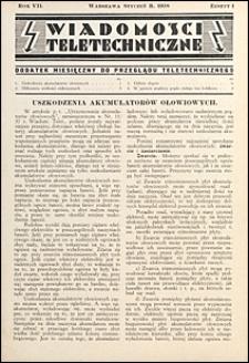 Wiadomości Teletechniczne 1938 nr 1