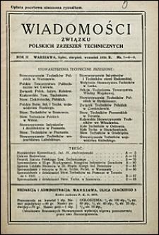 Wiadomości Związku Polskich Zrzeszeń Technicznych 1926 nr 7-9