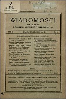 Wiadomości Związku Polskich Zrzeszeń Technicznych 1927 nr 1