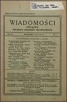 Wiadomości Związku Polskich Zrzeszeń Technicznych 1927 nr 2