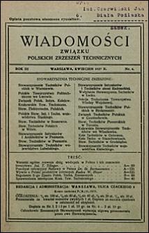 Wiadomości Związku Polskich Zrzeszeń Technicznych 1927 nr 4