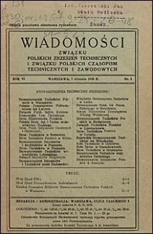 Wiadomości Związku Polskich Zrzeszeń Technicznych 1930 nr 1