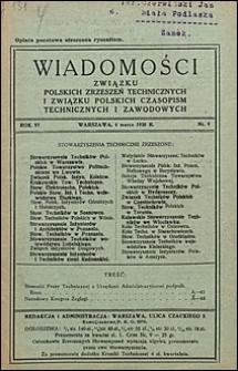 Wiadomości Związku Polskich Zrzeszeń Technicznych 1930 nr 9