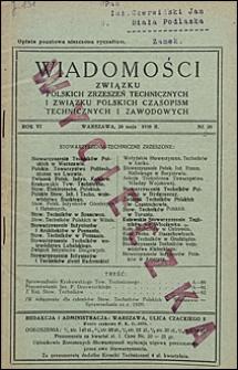 Wiadomości Związku Polskich Zrzeszeń Technicznych 1930 nr 20