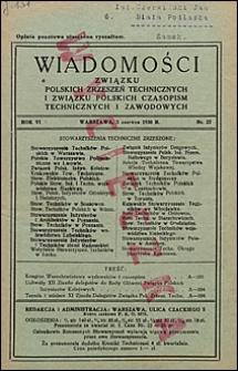 Wiadomości Związku Polskich Zrzeszeń Technicznych 1930 nr 22